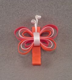 Butterfly Hair Clip Ribbon Sculpture Neon by BowsBellissima, $3.50