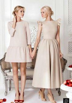 Vertrek van het patroon van de rechte jurk 1, Knip door op de doorkniplijn voor de rechte jurk 3. Voorzie een volledige rimpelrok imp een halve plooirok.