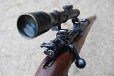 Deactivated Mauser Sniper Rifle - the infamous fitted with various scope configerations - Check this page for Deactivated Kar 98 Mauser Sniper Rifle! Military Weapons, Weapons Guns, Guns And Ammo, Anti Materiel Rifle, Airborne Ranger, K98, Closet Shoe Storage, Combat Gear, Snipers