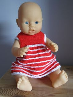 Sixties Spirit: Striped dress, jacket and bonnet for 16 inch baby doll free knitting pattern