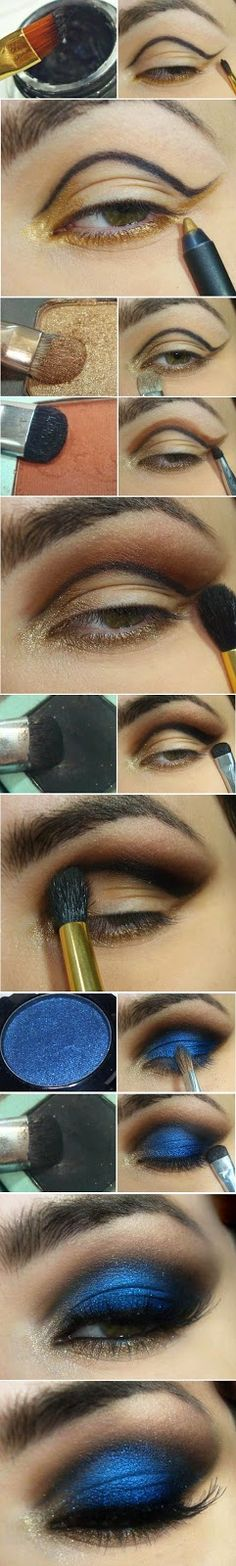 Blue and Gold Eye Shadow Arabian Makeup Tutorials for bridal party