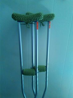 The Knitless Knitter Crochets-Crochet Crutch Covers-Link to free pattern provided in this blog