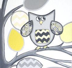 Nursery Wall Decor - Yellow and Grey Chevron Growth Chart, Tree with Owl, 12x36 inches via Etsy