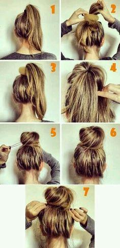 hair hair hacks 10 Easy And Cute Hair Tutorial Messy Bun Hairstyles, Cool Hairstyles, Hairstyle Ideas, Hairstyle Tutorials, Step Hairstyle, Romantic Hairstyles, Bun Updo, Perfect Hairstyle, Messy Updo