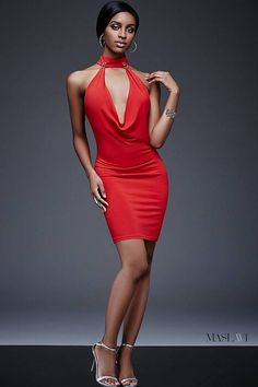 Red plunging neckline and low back dress features a form fitting style available in black.