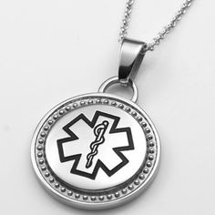 Bordered Round Medical Stainless Pendant with Black Symbol