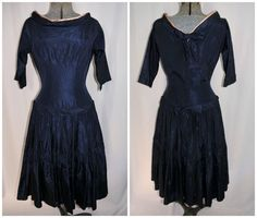 Vintage 1950's / Navy Satin / Cocktail Fit-Flare by CicelysCloset