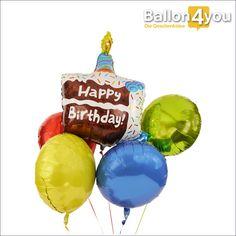 """Geburtstagstorte mit bunten Folienballons       Ein großer Geburtstag verdient ein großes Ballonbukett. Hier versammeln sich vier farbenfrohe Rundballons und umkreisen den großen Kuchenballon. """"Happy Birthday"""" steht darauf und bei dieser Torte kommt garantiert keine Kalorie auf die Rippen. Dafür wird die Geschenkidee aber ein Lächeln in das Gesicht des Geburtstagskindes zaubern. Auf Wunsch mit Grußkarte und Schokolade."""