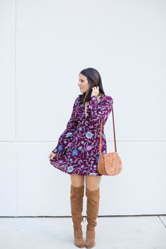 floral dress, over the knee boots, crossbody bag, fall outfits - My Style Vita @mystylevita