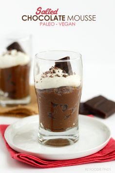 This Paleo Salted Dark Chocolate Mousse is made with an avocado and coconut base, sweetened with maple syrup, and topped off with Himalayan Sea Salt!