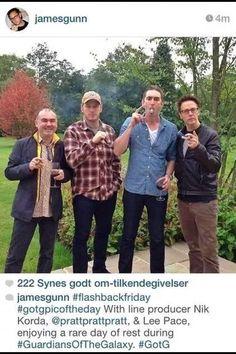 Chris Pratt lee Pace and James Gunn having fun during filming of Guardians of the Galaxy http://instagram.com/p/t-_ZECIzWi/