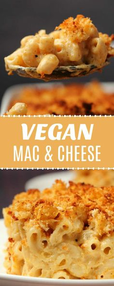 This classic vegan mac and cheese is ultra cheesy, saucy and creamy. Topped with… This classic vegan mac and cheese is ultra cheesy, saucy and creamy. Topped with breadcrumbs and baked until golden brown and crispy. Vegan Dinner Recipes, Dairy Free Recipes, Whole Food Recipes, Vegetarian Recipes, Cooking Recipes, Cheese Recipes, Vegan Soul Food Recipes, Kitchen Recipes, Vegan Foods