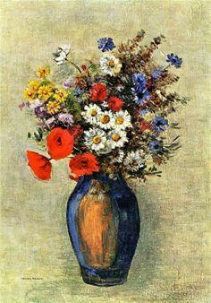 Odilon Redon (French: 1840–1916), [Post-impressionism, Symbolism] Vase of Flowers, 1904.