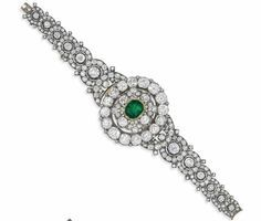 A LATE 19TH CENTURY DIAMOND AND EMERALD BRACELET/BROOCH The central step-cut emerald with foil backed mount set within a cluster of cushion-cut diamonds, to a further oval cushion-cut diamond border surround and similarly set crescent shaped shoulders, to the tapering bracelet designed as a series of circular target cluster links, mounted in silver and gold, circa 1870, 18.2cm long, the central emerald and diamond cluster detachable to form a brooch