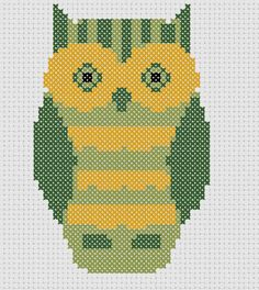 green owl cross stitch pattern by elevenohfour on Etsy, $3.50