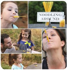 Noodling Around – Using only a piece of spaghetti in your mouth, pick up four penne pasta noodles from a tabletop.