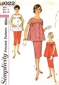 Simplicity Pattern 3022 Vintage 50s Maternity Skirt , Capri Pants, Top with Detachable Collar dated 1959.