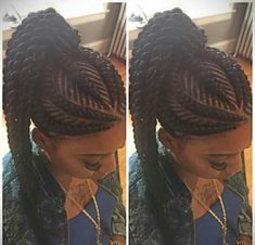 Ghana braids are growing in popularity and are a wonderful style. Check out these unique & hip styles of Ghana braids/Banana braids for your next braids hairdo! Ghana Braids Hairstyles, African Hairstyles, Girl Hairstyles, Braided Hairstyles, Braided Ponytail, Hairstyle Braid, Ghana Braids Updo, Braids Cornrows, Afro Punk
