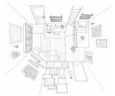 1000 images about dessins on pinterest salon design salons and bureaus for Dessin chambre perspective