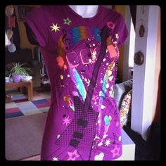 """Selling this """"Fun purple """"Rock On"""" guitar t-shirt"""" in my Poshmark closet! My username is: rxdaughtet. #shopmycloset #poshmark #fashion #shopping #style #forsale #Max Rave #Tops"""