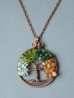 Necklace Four seasons tree of life copper 4 stones Jewelry by MagicWire