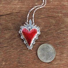 Custom Made Red Enamel Heart Necklace, Glowing Red Heart Necklace, Flaming Heart Necklace