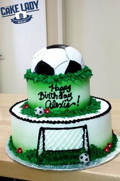 Creating custom cakes is a kick. Alexis' Happy Birthday soccer cake makes us want to head out to the pitch. Sports Birthday Cakes, Creative Birthday Cakes, Soccer Birthday Parties, Birthday Cakes For Teens, Themed Birthday Cakes, Soccer Party, Boy Birthday, Happy Birthday, Soccer Ball Cake