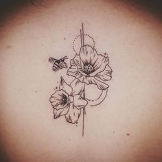 Bee tattoo daffodil tattoo poppy tattoo geometric spine