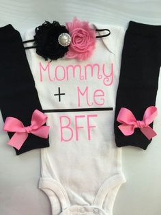 Baby Girl Mothers Day outfit -Coming home outfit - Newborn baby clothes - Mommy Plus Me = BFF- Preemie through 24 months