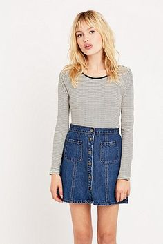 4f1b526e482 Cooperative by Urban Outfitters Denim A-Line Skirt - Urban Outfitters A  Line Skirts