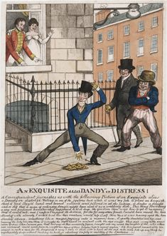 """An exquisite alias dandy in distress!"" and shows our hero, thin as a rake, trying to retrieve his handkerchief despite the fact that he is corseted so tight that he can neither bend or stoop.  a man facing a delimma that many a lady had conqured perhaps that is why the lady is so ammused"