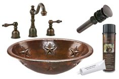 Premier Copper Products - BSP2_LO19RSTDB Bathroom Sink, Faucet and Accessories Package  #coppersink #bathroomsinkpackages