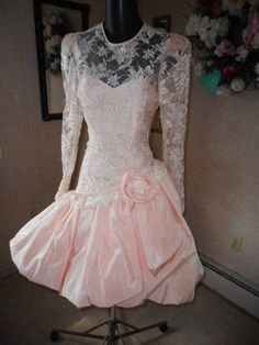 3420eb4c149a 80s prom dress pretty in peach best in show s lace poufy 80s Dress, Prom