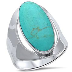 Oval Green Turquoise Ring Cocktail Ring Full Finger Ring Solid 925 Sterling Silver Turquoise Ring Solitaire Wedding Engagement Stone Ring