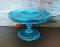 Pedestal Display Turquoise Distressed Wooden by turquoiserollerset, $16.00