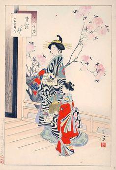 high class courtesan and her maid by Toshikata Mizuno, 1890s