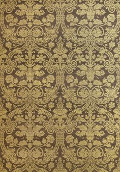 CURTIS SILK DAMASK, Metallic Gold on Brown, T1007, Collection Menswear Resource from Thibaut