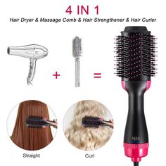 2 in 1 Multifunctional Hair Dryer & Volumizer Rotating Hair Brush Roller Rotate Styler Comb Styling Straightening Curling Iron Ombré Hair, Wet Hair, Blonde Hair, Hair Brush Blow Dryer, Rotating Hair Brush, Home Depot, Rides Front, Hair Styler, Dry Brushing
