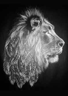 Feathered Lion Drawing by LittleTiv on Etsy
