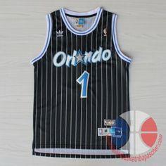 maillot de basket pas cher Orlando Magic McGrady #1 Noir mesh tissu