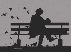 The Man and the Birds - Digital art by Rosane Farias