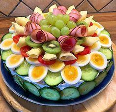 Sandwich Cake, Sandwiches, Savory Cheesecake, Appetizer Recipes, Dessert Recipes, Salad Cake, Open Faced Sandwich, Crudite, Norwegian Food