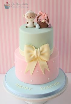 Easter Cake could also be a cute baby shower cake if you change the toppers