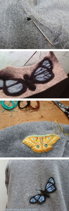 Mending moth holes with felt moth appliques tutorial--really cute, even for just plain applique :3
