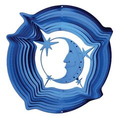 Iron Stop 1215-12-2 30cm Large Moon and Stars Classic Wind Spinner - Blue
