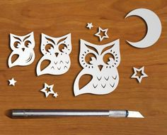 Items similar to Vintage Owl PaperCut Set on Etsy Kirigami, Owl Crafts, Diy And Crafts, Paper Crafts, Animal Cutouts, Chinese Paper Cutting, Cut Out Art, Origami Paper Art, Paper Owls