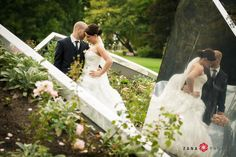 Bride & Groom Wedding Portraits in a Garden surrounded by Modern Sculptures. Photo by Zana Photos