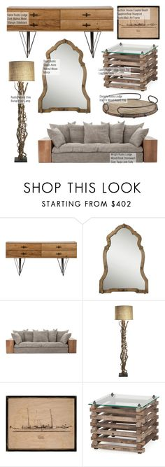 """""""Rustic Lodge"""" by kathykuohome ❤ liked on Polyvore featuring interior, interiors, interior design, home, home decor, interior decorating, rustic, livingroom and homedecor"""