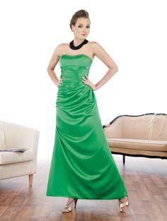 Strapless satin dress with dropped waist