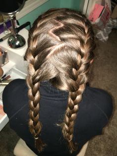 Zig zag dutch pigtails its two pancaked tugged out dutch 2 french braids with zig zag middle part ccuart Images